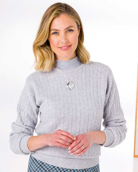 Lambswool Cable Crew Neck Sweater  Ladies